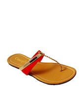 Red Faux Leather Toe Seperators Sandal - By