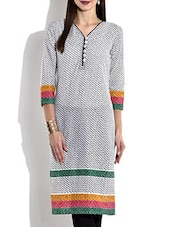 Black & White Cotton Printed Kurta With Tri Color Border - By