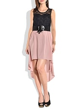 Black And Peach Asymmetrical Sleeveless Dress - By