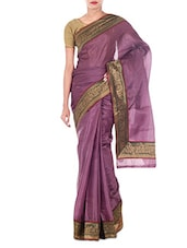 Purple Brocade Art Silk And Zari Saree - By