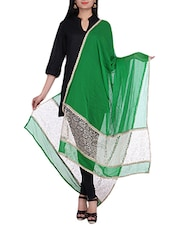 Green Chiffon Dupatta With Lace Detailing - By