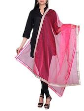 Pink Net Dupatta With Shimmer Border - By