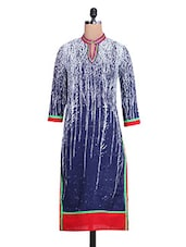 Blue And White Printed Cotton Kurta - By