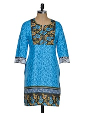 Floral Printed Cotton Kurti - Fashion Fiesta