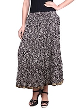Monochrome Printed Cotton Maxi Skirt - By
