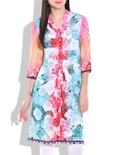 Multicolored Floral Printed Buttoned Kurta - By