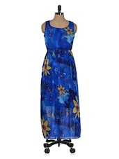 Blue Floral Printed Maxi Dress - 399