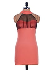 Peach Halter Neck Bodycon Dress - 399