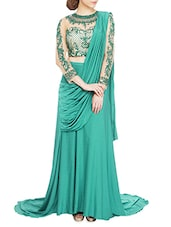 Teal Green Embroidered Draped Skirt-saree Style Gown - By