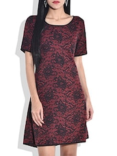 Red Lace Printed Dress - By