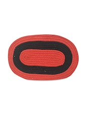 Orange And Black Oval Cotton Doormat - By