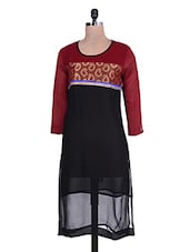 Black And Maroon Georgette Kurta - By