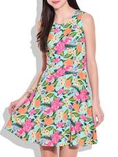 Multicolor Floral Print Short Dress - By