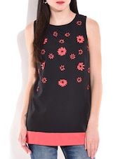 Black And Pink Floral Sleeveless Top - By