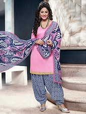 Baby Pink And Blue Printed Semi Stitched Suit Set - By