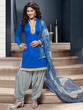 Blue And White Printed Semi Stitched Suit Set - By