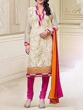 Beige Cotton Embroidered Semi Stitched Suit Set - By
