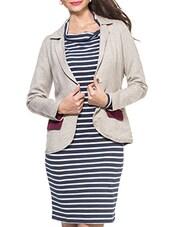 Beige Lurex Tweed Jacket With Color Block Pocket - ZOVI