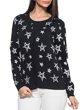 Black Round Neck Full Sleeved Star Print Cardigan - ZOVI