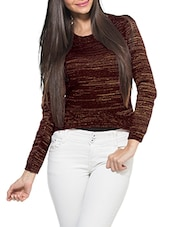 Maroon Round Neck Full Sleeved Pullover - ZOVI