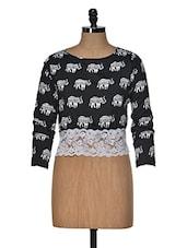 Elephant Print Lace Crop Top - Popnetic