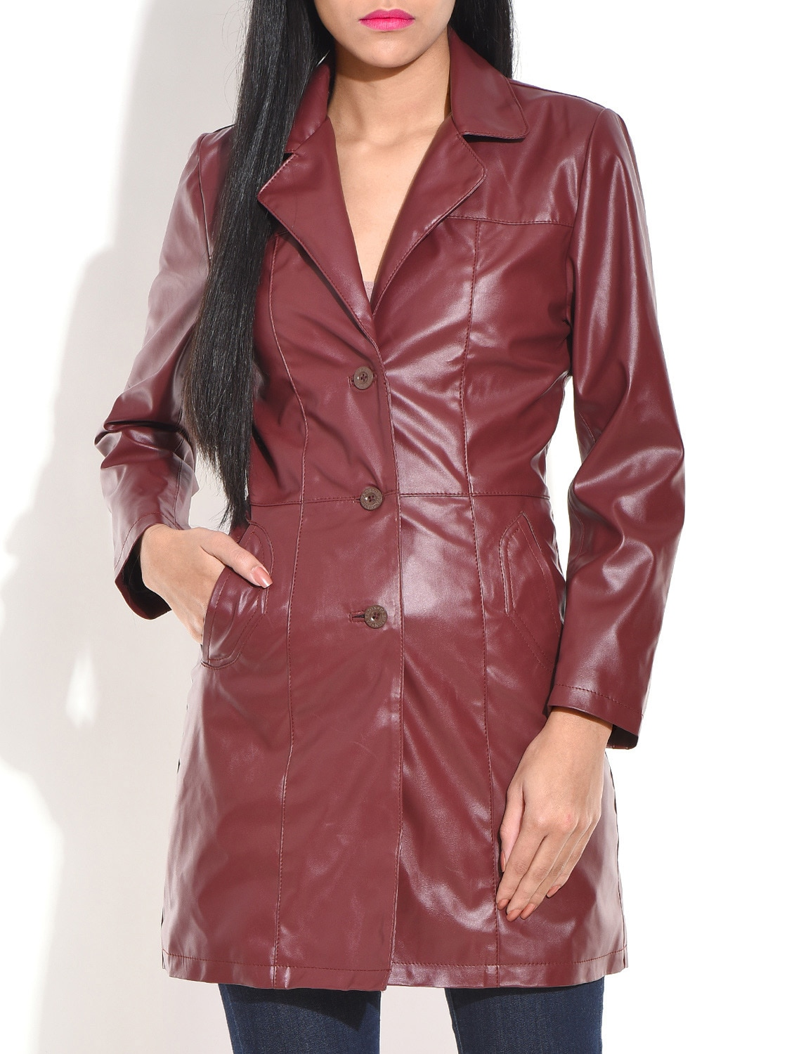 Chocolate Brown Leatherette Long Winter Coat - By