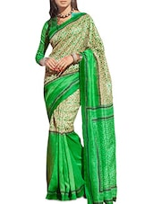 Green And Cream Bhagalpuri Silk Printed Saree - By