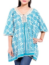 Sky Blue And White Printed Flared Cotton Top - By