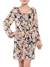 Multicolored Floral Printed Georgette Dress - By