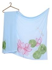 Lotus Flower Hand Painted On Light Blue Saree - RANGAT