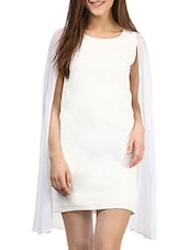 Solid White Georgette Crepe Cape Shift Dress - By