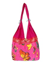 Pink Butterfly Printed Canvas Handbag - By
