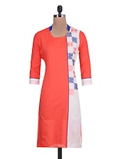 Orange  Cotton Printed Kurta - By