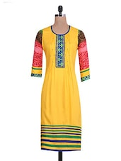 Yellow Rayon Printed Kurta - By