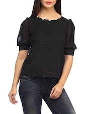 Black Polyester Self Checkered Top - SUHI