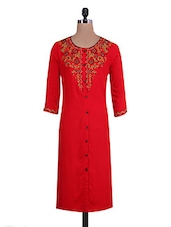 Red Rayon Embroidered  Kurta - By