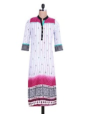 White & Pink Rayon Printed Kurta - By