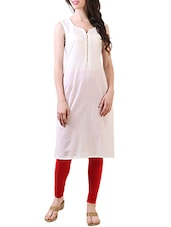 Sleeveless Printed Cotton Kurta - By