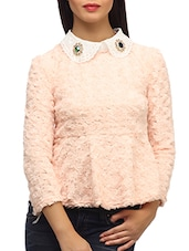 Peach Floral  Textured  Velvet Peter Pan Collar  Top - SUHI