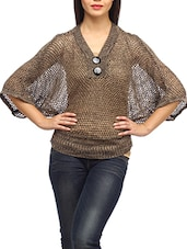 Brown Cotton Knitted  Batwing Top - SUHI