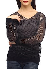 Dark Grey Cotton Knitted Long Sleeves Top - SUHI