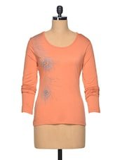 Peach Colour Arty Viscose Top - LA ARISTA