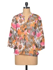 Multi Colour Abstract Polyester Top - LA ARISTA