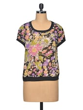 Multi Colour Floral Print Polyester Top - LA ARISTA