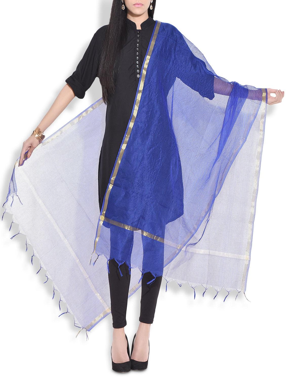 Royal Blue Kota Silk Dupatta - By