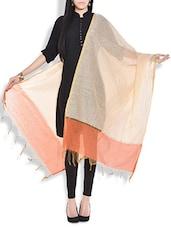 Beige And Orange Cotton Silk Dupatta - By