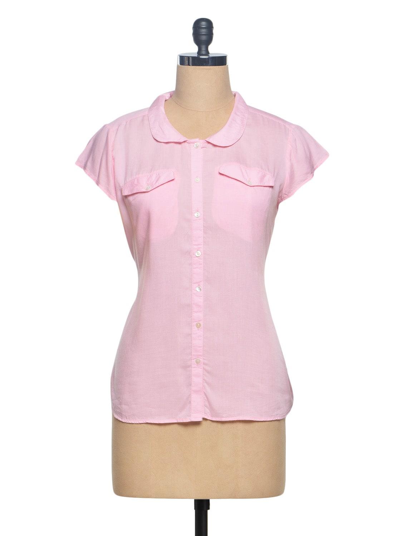 Pink Peterpan Collar Rayon Modal Shirt - Paprika