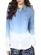 Full Sleeve Tie Dye Blue And White Rayon Modal Shirt - Paprika