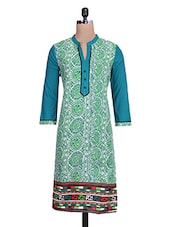 Green And White Cotton Printed Kurta - By