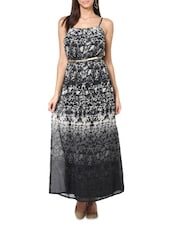 Printed Black Georgette Maxi Dress - Paprika